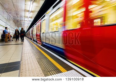 London UK - June 15 2016: London Underground station with unidentified people. London Underground is the oldest metro system in the world and the 11th busiest with the longest network in Europe