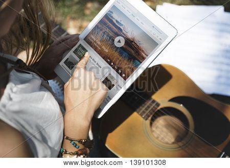Music Steaming Multimedia Listening Digital Tablet Technology Concept
