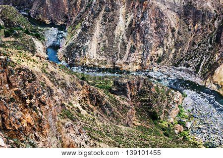 mountain river in a canyon, Peru