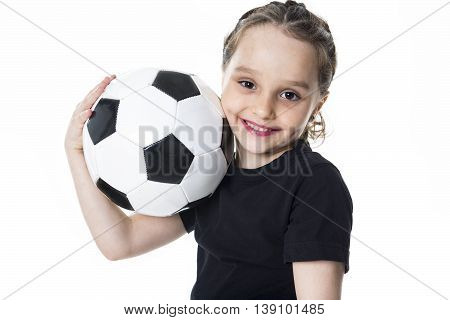 A Young girl play soccer ball, Isolated over white