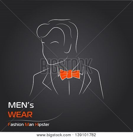 Vector illustration. Handdrawing. Silhouette man with orange butterfly on black background. Banner or card template for mans wear shop or salon. For sale card. Hipster style