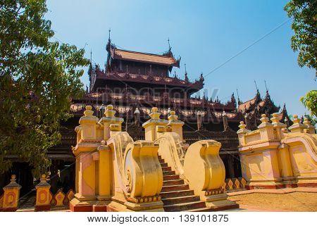 Shwe In Bin Kyaung Is Wooden Teak Monastery In Mandalay, Myanmar
