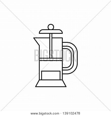 French press coffee maker icon in outline style isolated vector illustration