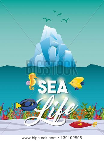 Sea life concept represented by iceberg sea horse and tropical fish icon. Colorfull illustration.