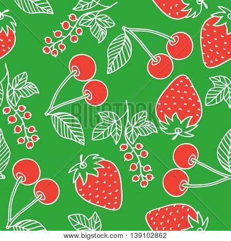 Juicy berries seamless pattern. White outline and red berries drawing in cartoon style on a red background. Cherry strawberry and currant drawn by hand. Vector image.