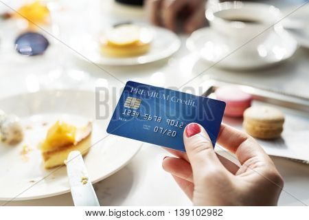 Paying Credit Card Restaurant Concept