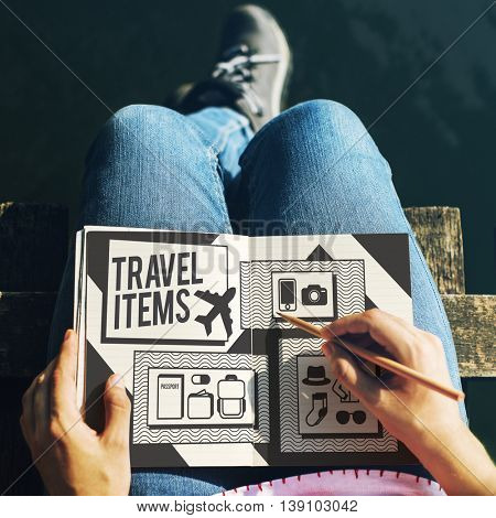 Travel Items Accessories Preparation List Concept