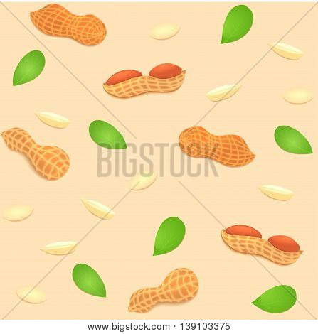 Vector seamless background peanut nut. A pattern of shelled peanuts nuts in shell and shelled, leaves. Tasty Image on beige background nuts for printing on packaging, advertising of healthy foods