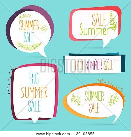 Summer Sale Banner Set Logo, Sticker, Speech Bubble With Flower And Plants Decoration. Shopping Back