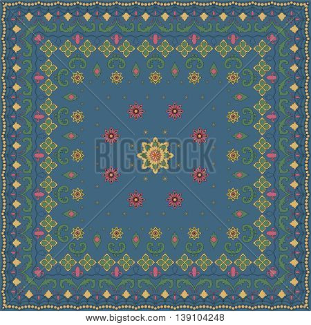 Blue handkerchief with colored ornament. Vector illustration.