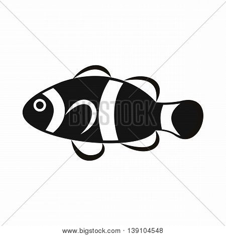 Cute clown fish icon in simple style isolated vector illustration
