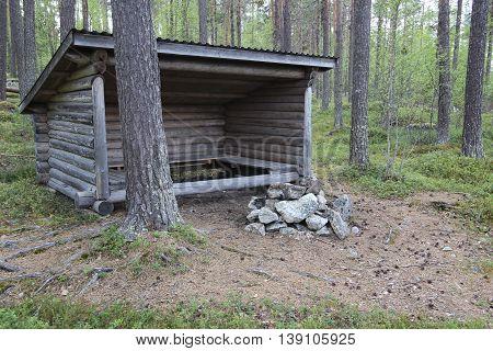 Weather Shelter In A Forest In Jaemtland, Sweden