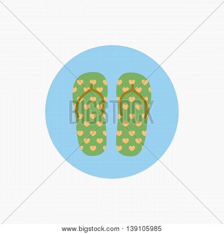 Flip flops icon. Vacation symbol. Flat vector