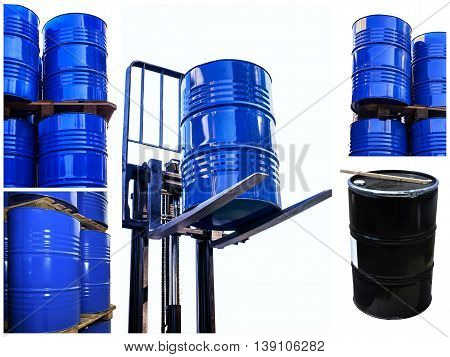 Set of the Chemical tanks stored at the storage of waste isolated on white.