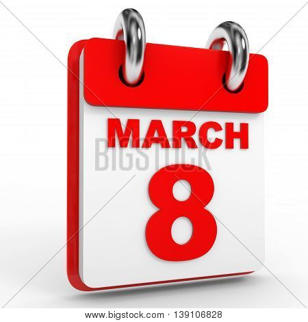 8 March Calendar On White Background.