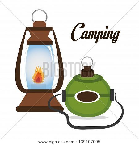 camping lamp with canteen isolated icon design, vector illustration  graphic