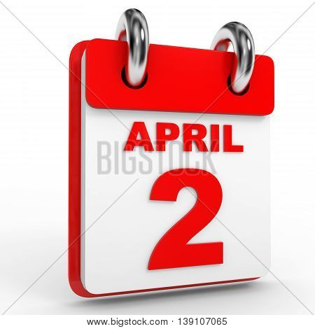 2 April Calendar On White Background.