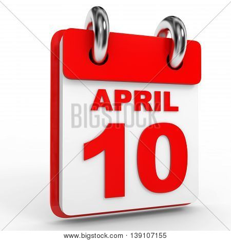 10 April Calendar On White Background.
