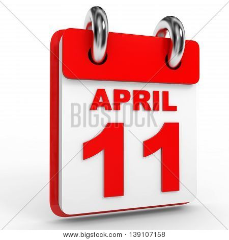 11 April Calendar On White Background.