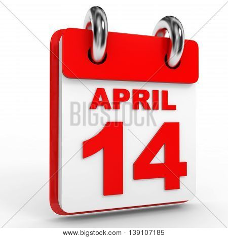 14 April Calendar On White Background.
