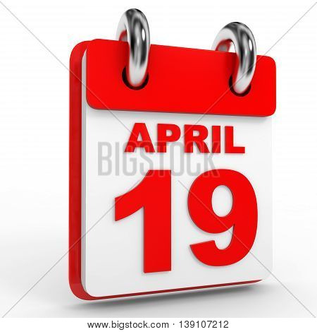 19 April Calendar On White Background.