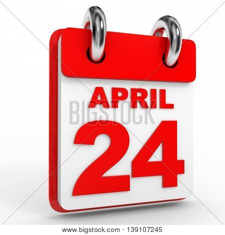 24 April Calendar On White Background.