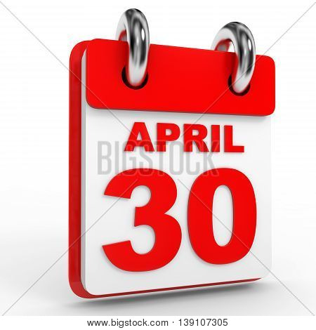 30 April Calendar On White Background.