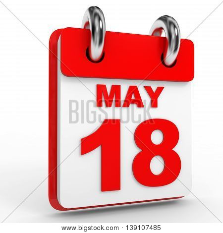 18 May Calendar On White Background.