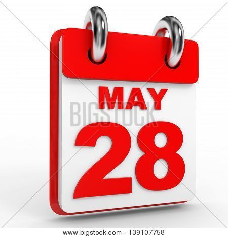 28 May Calendar On White Background.