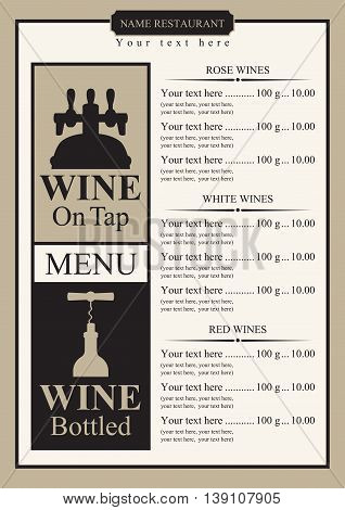 wine menu with price list and picture on tap and bottle