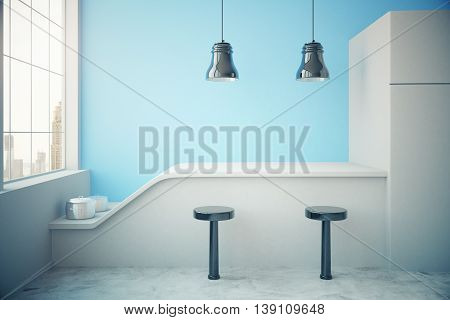 Blue Kitchen Interior