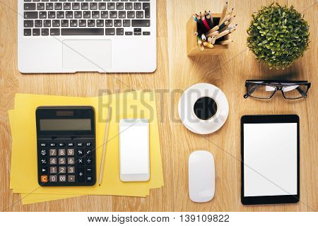 Office Table With White Tablet