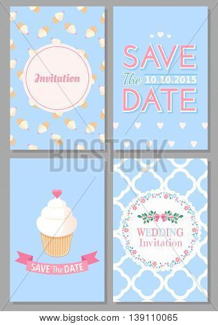 Set of wedding romantic cards. Vector collection of four romantic cards. Wedding invitation. Save the date.