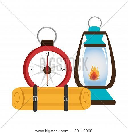 camping lamp with compass isolated icon design, vector illustration  graphic