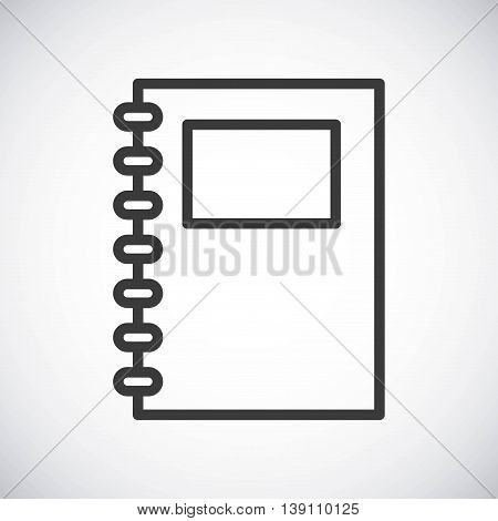 Silhouette icon concept represented by black notebook. Isolated and shiny illustration.