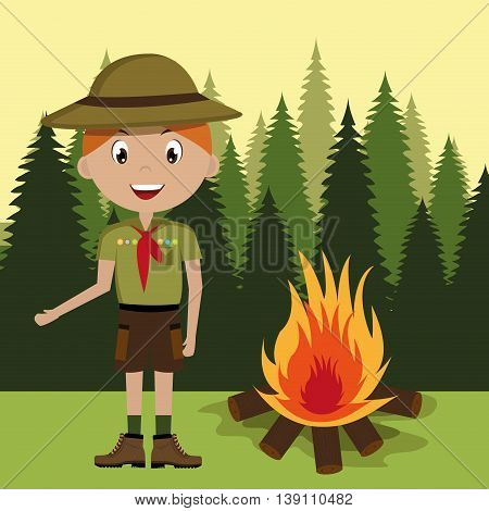 scout character with campfire isolated icon design, vector illustration  graphic