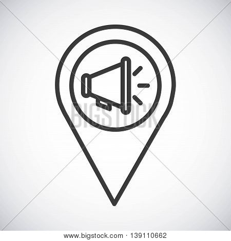 Silhouette icon concept represented by black Megaphone. Isolated and shiny illustration.