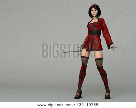 3d illustration of a pretty anime young girl in red outfit holding sai