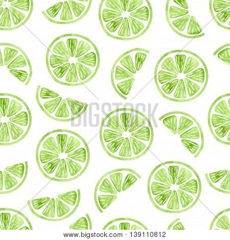 Watercolor lime seamless pattern. Vector background wit slices of lime isolated on white