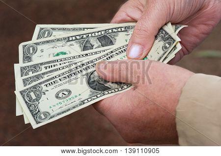 Several dollar banknotes in woman hands, closeup