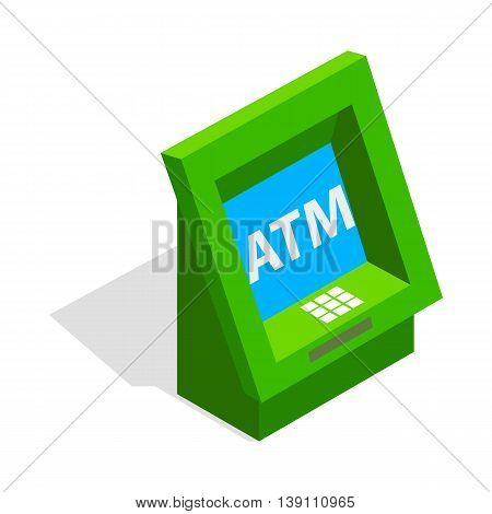 ATM icon in isometric 3d style isolated on white background. Money symbol