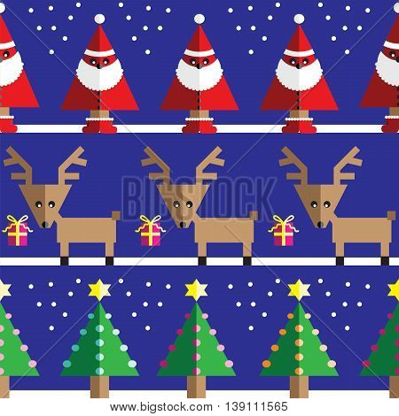 Seamless pattern with geometrical Reindeer, gifts, Santa Claus, snow, Christmas trees with  light blue, orange, pink lights and star element in two shades on dark blue