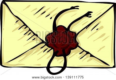 Closed Vintage Envelope with Brown Wax Stamp. Isolated on a White