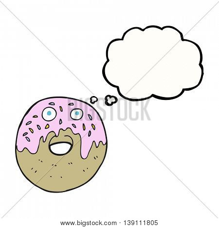 freehand drawn thought bubble cartoon doughnut