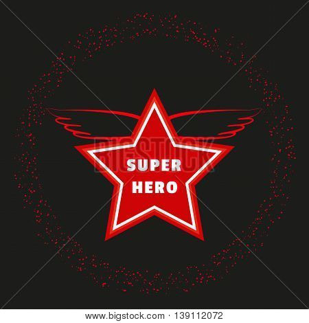 Super hero star. Starring banner background. Red wings  Success Victory Winning  Concept. Leader boss award idea. Sport winner banner template. Movie hero reward ceremony. Vector illustration