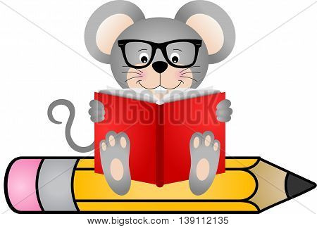 Cute mouse reading book sitting on pencil