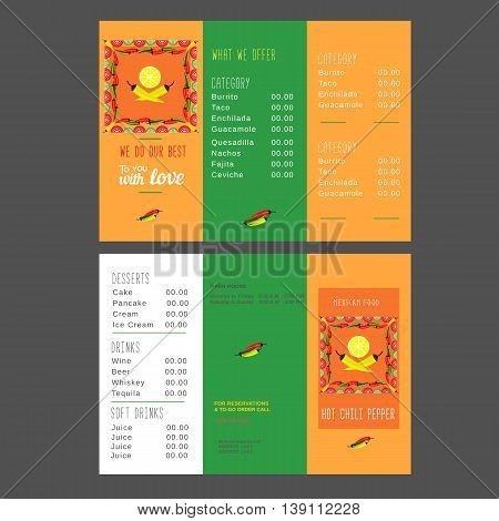 Set of templates for Mexican restaurant. Menu of Mexican food. Hot chili pepper. Lime and paprika. Spicy kitchen. Vector illustration