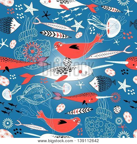 Marine seamless pattern with seals and whales on a blue background