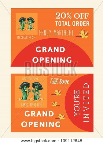 Set of templates for mexican restaurant. Grand opening afvertising. Bonus flyer. Invitation card. Vector illustration