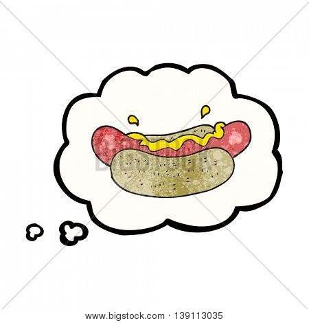 freehand drawn thought bubble textured cartoon hotdog